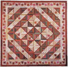 "Wilderness Log Cabin quilt: Thanksgiving - The Creative Pattern Book, 1999. Designed and pieced by Judy Martin. Quilted by Jean Nolte. 90"" x 90"". An alternate colorway is presented in a different size."
