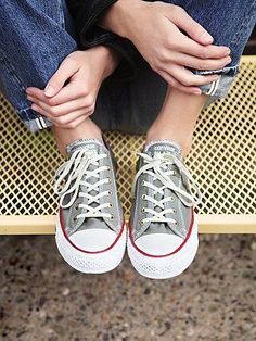 Free People Distressed Low Top Chucks