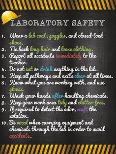 "A perfect poster to display in your class the basic safety rules in the lab! This product is part of a larger safety product, soon to be added. Created using 8.5"" by 11"", but can be printed at a size you desire for your classroom."