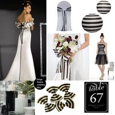 the bowtie pasta inspired this black and white striped wedding theme