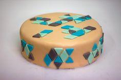 geometric fondant cake triangles pattern
