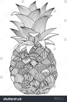 Drawn pineapple zentangle - pin to your gallery. Explore what was found for the drawn pineapple zentangle Doodle Art Drawing, Zentangle Drawings, Mandala Drawing, Art Drawings, Drawing Ideas, Cute Coloring Pages, Mandala Coloring Pages, Coloring Books, Colouring