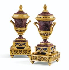 A PAIR OF GILT-BRONZE MOUNTED PORPHYRY PERFUMEIVASES, RESTAURATION, CIRCA 1820-1830, AFTER A MODEL BY MATTHEW BOULTON
