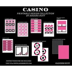 Casino Poker Vegas Birthday Party Printables Collection - Pink