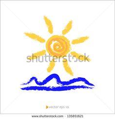 Sun and Sea Vector Illustration - stock vector