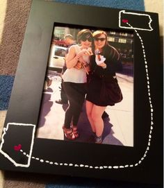DIY: Painted frame for best friends who live in different states.