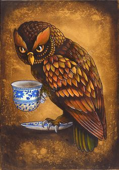 'Owl with Teacup' by Kerry Evans