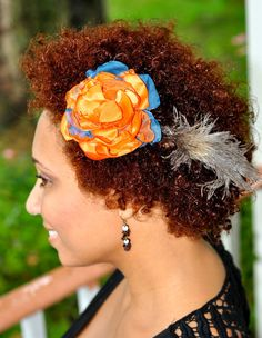 Orange and Teal Blue Fascinator Flower with Feathers by Caheez, $14.50