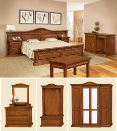 Mobila / Mobilier Dormitor clasic lemn masiv Venetia / Vanda - Lilly is Love Wooden Sofa Set Designs, Wood Bed Design, Bed Frame Design, Bedroom Bed Design, Bedroom Furniture Design, Bedroom Decor, Solid Wood Bedroom Furniture, Wooden Bedroom, Bed Furniture