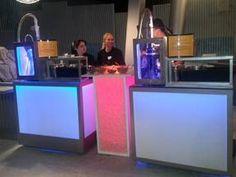 Colorful liquid nitrogen frozen drink and ice cream carts.  www.nitrocrafter.com