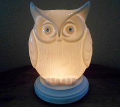 Porcelain Hootie Night Light Lamp - electric