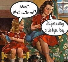 """Magnet, """"Mom? What is...Normal?  It's just a setting on the dryer, honey."""""""