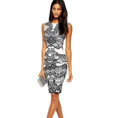 Sexy lápiz print Vintage vestido vestido de festa vestido hasta la rodilla ropa barata de china vestido de slim fit mujeres feminina ft(China (Mainland))