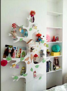 Купить Белое дерево-стеллаж для детской комнаты 5 - белый, дерево-стеллаж