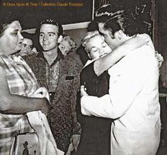 Gladys Presley and Elvis meeting Anita Woods at the airport.