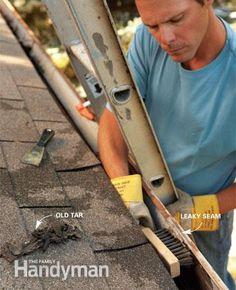 Gutter Repair: Clean the gutter.  Read more: http://www.familyhandyman.com/roof/gutter-repair/gutter-repair-fix-leaky-metal-gutters/view-all