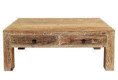 Hampton Coffee Table  This coffee table is made of reclaimed teak, giving it a charming rustic look. Two drawers provide storage for remotes, magazines, and other odds and ends.