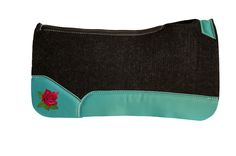 Best Ever Pads - Custom Embroidery - Rose Embroidery - Red Rose - Turquoise Leather - OG Wool - Wool Saddle Pad - Saddle Pads - Horse Tack - Western Tack - Tack - Rodeo