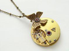 Steampunk Necklace butterfly key wind gold pocket watch silver gears antique red garnet crystal Victorian  #SteampunkNecklace #SteampunkJewelry #SteampunkJewelrybyMariaSparks