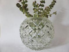 Large Antique EAPG Rose Bowl Diamond Pattern Pressed Glass | Etsy