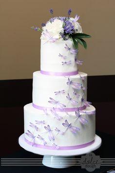 Dragonfly Wedding Cake — Round Wedding Cakes