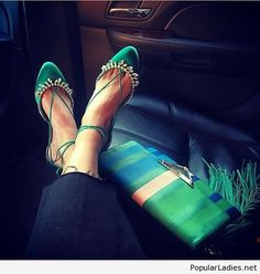 Emerald green flats with diamnds