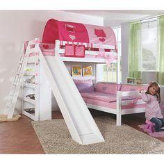 Etagenbett Sky - mit Rutsche, Regal, Tunnel und Tasche - Buche massiv weiß/Textil pink-herz