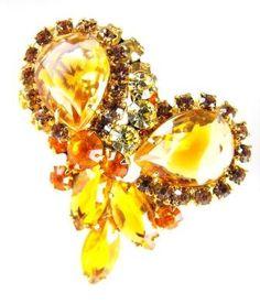 Juliana Jewelry Brooch Harvest Gold Jonquil Sabrina Rhinestones Multi Tiered Beauty Verified