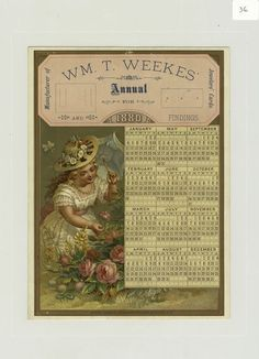 A trade calendar for 1880 depicting a girl with an umbrella picking flowers.]