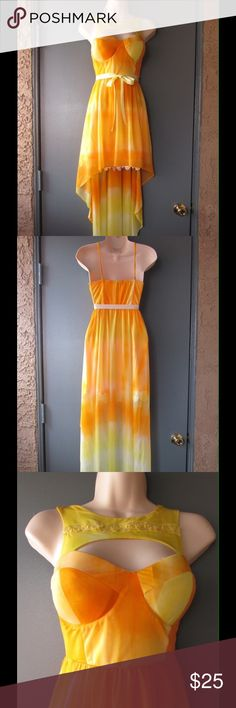 Super Chick Yellow/Orange High/Low Dress W/Belt This dress is super sexy and spectacular. Gorgeous colors and exquisite design. Embroidery trim on the bottom/lining. Lace ornament on the chest and padded on the breast. Size Small - NWOT. Save $$$ on bundles. Dresses High Low