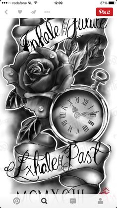 Pocket watch with rose and quote quarter sleeve. I want this for my sleeve tattoo Pocket watch with rose and quote quarter sleeve. I want this for my sleeve tattoo Dope Tattoos, Tattoos Skull, Trendy Tattoos, Body Art Tattoos, New Tattoos, Tattoos Pics, Chicano Tattoos, Tattoo Images, Tatoos