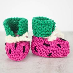 EASY Watermelon Baby Booties Knitting Pattern - Gina Michele