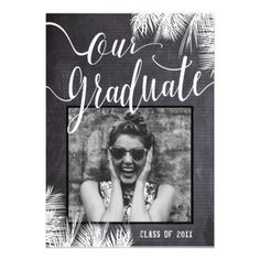 Tropical Leaves Black and White Graduation Invite - graduation party invitations card cards cyo grad celebration