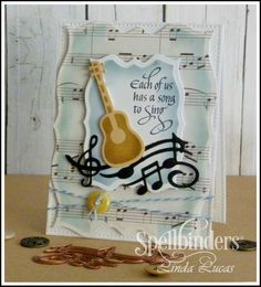 Linda is sharing a tutorial for a card created using two of a series of Spellbinders music themed dies - these Die D-Lites are delightful and can be used for so many occasions.