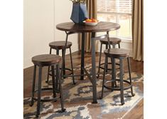 Challiman Round DRM Counter Table & 4 Stools by Signature Design by Ashley. Get your Challiman Round DRM Counter Table & 4 Stools at Furniture Warehouse, Holland MI furniture store. Patio Bar Set, Pub Table Sets, Table And Chair Sets, Dining Room Sets, Dining Room Table, Bar Tables, Kitchen Dining, Kitchen Tables, High Top Table Kitchen
