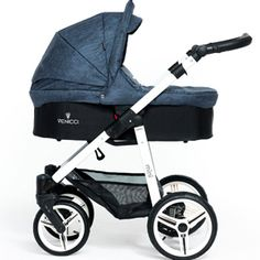 Venicci Denim Blue. A perfect pram for a newborn, available also with black chassis.