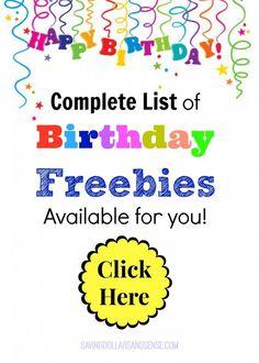 Huge list of Birthday Freebies available
