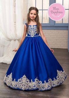 The Glendale flower girl dress is a royal sleeveless satin dress for little girls. The dress features a slim sleeveless satin bodice, tanks straps designed for the square neckline, long skirt, and a b
