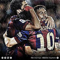 Barcelona celebration: Suarez, Messi, Neymar