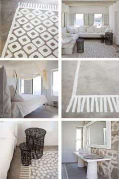 Painted rug on concrete floor - considering this in my 'finishing' room. Painted Concrete Porch, Painted Rug, Painting Concrete, Painted Floors, Stenciled Floor, Creation Deco, Layout Design, Design Design, Grey Flooring