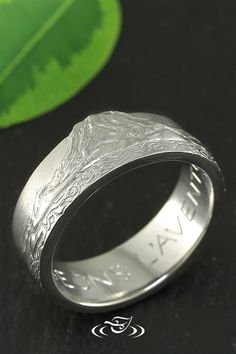 Hand Carved Band in White Gold Featuring Mt. Rainer