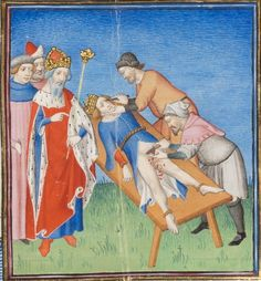 "Illumanu15th century (ca.1410) France - Paris        Bibliothèque de Genève  Ms. fr. 190/2: Des cas des nobles hommes et femmes by Giovanni Boccaccio   fol. 169r - ""Henry Hohenstaufen torturing the young William III of Sicily, son of Tancred"""