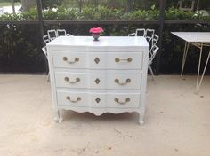 Gorgeous White Lacquered Widdicomb Chest Louis XV Style. With Vintage Daisy Brass Hardware...slightly polished. This oversized Chest is