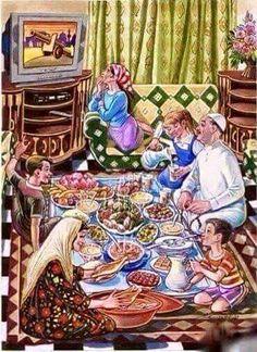 Ramadan with the Iraqi artist Dia Al - Hajjar Art Village, Cartoon Kunst, Cartoon Art, Art And Illustration, Ramadan Poster, Cartoon Girl Images, Arabian Art, Islamic Cartoon, Art Drawings For Kids