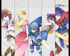 Super Smash Bros characters: Pit, Peach, Marth, Ness, and Ike