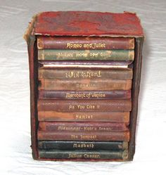 Vintage 12 Miniature Leather bound SHAKESPEARE BOOKS by Knickerbocker around 1900 reserved for Patricia