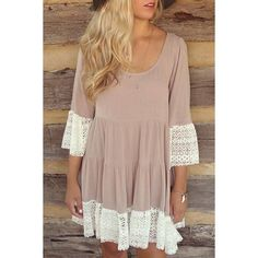 Casual U Neck 3/4 Sleeve Lace Splicing Loose-Fitting Women's Dress