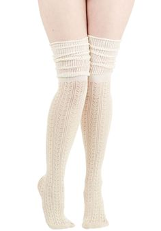 Put Your Strut In Me Thigh Highs in Ivory. Trust us when we say that these ivory thigh highs will make the world your runway! #cream #modcloth