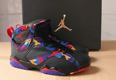 """The nickname for these jordans are also called """"sweaters"""" because they were inspired by Jordan's vibrant printed sweater and shorts he wore on camera in an iconic commercial, this Air Jordan 7 Retro features colorful hues, such as Bright Concord and Soar Blue, energizing the classic, this now classic shoe. All shoes come with original box and retro card for proof of authenticity.    For sale: 185.00 
