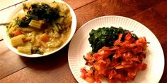 Yellow dal with celery and carrots. Side dish of the swiss chard greens and homemade kimchi, aka the best way to eat 5 lbs of swiss chard ever.